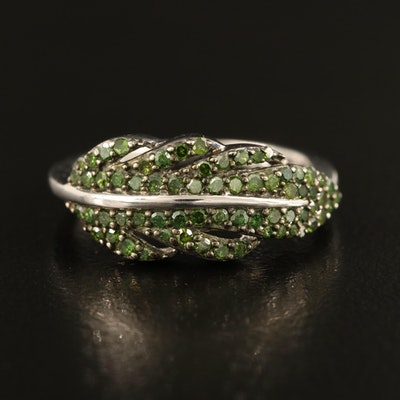 Sterling Green Diamond Feather Band