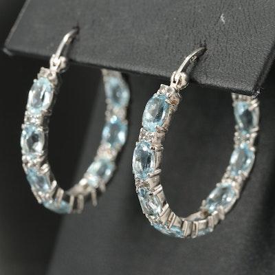 Sterling Topaz Inside-Out Hoop Earrings