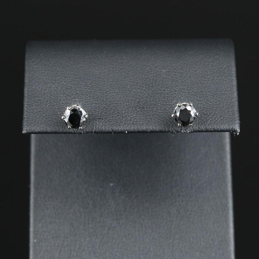 Sterling Milgrain Stud Earrings with Cubic Zirconia