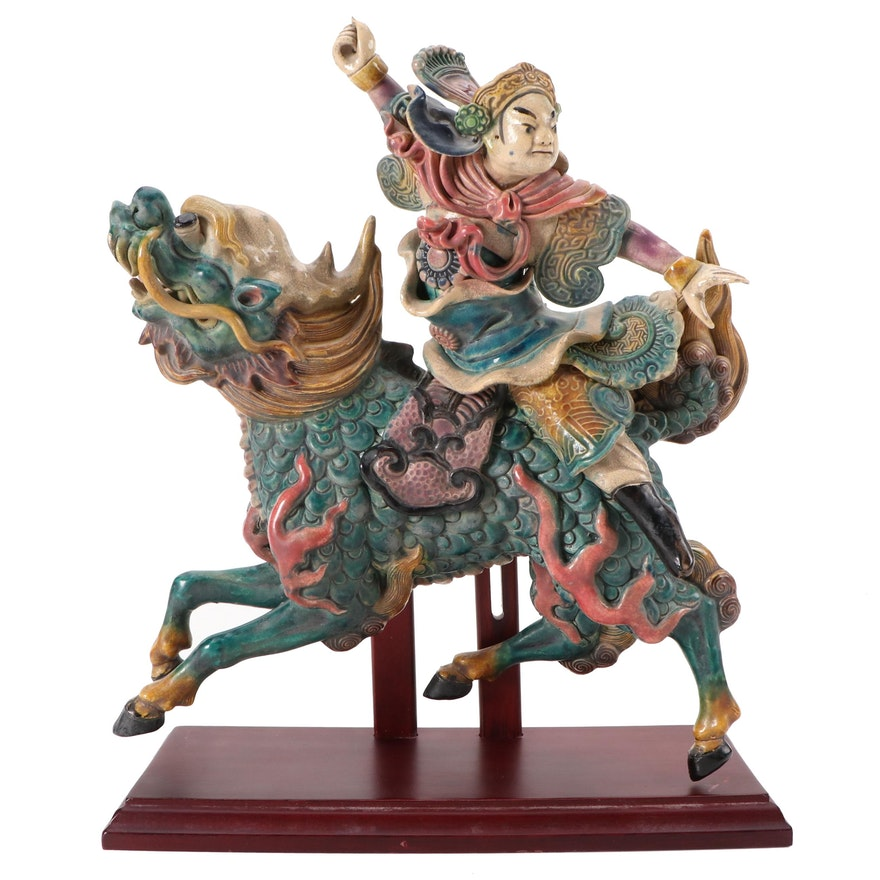 Chinese Ming Dynasty Style Ceramic Warrior Roof Tile