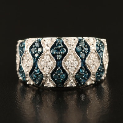 Sterling Diamond and Cubic Zirconia Patterned Band
