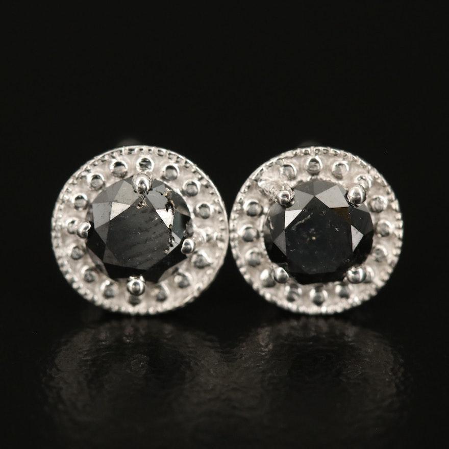 Sterling 0.97 CTW Black Diamond Stud Earrings