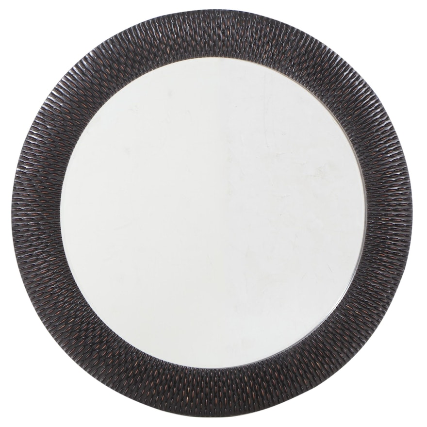 Round Beveled Mirror with Textured Bronze Color Frame