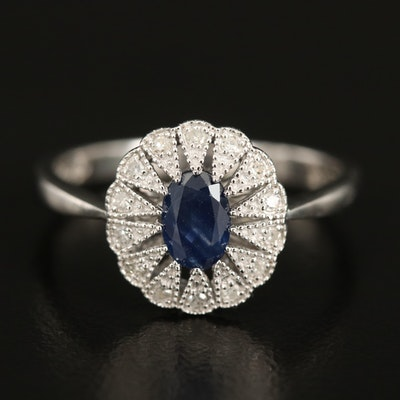 Sterling Sapphire and Diamond Ring