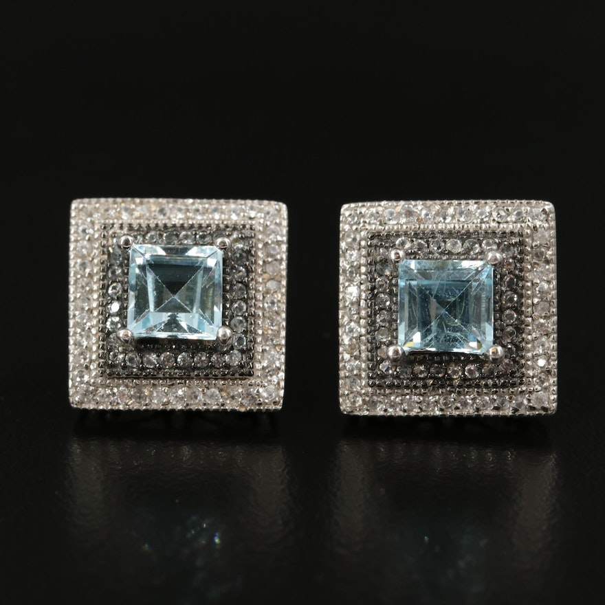 Sterling Sky Blue Topaz and Zircon Square Button Earrings