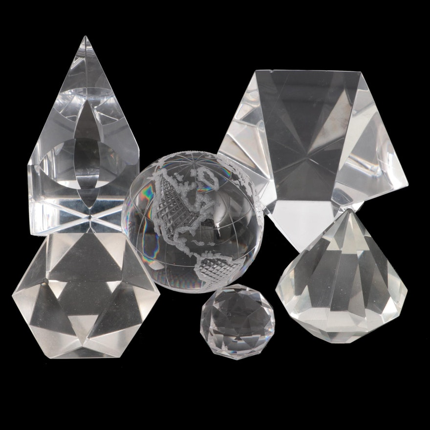 Steuben, Edward Poore and Other Crystal and Glass Prisms and Paperweights