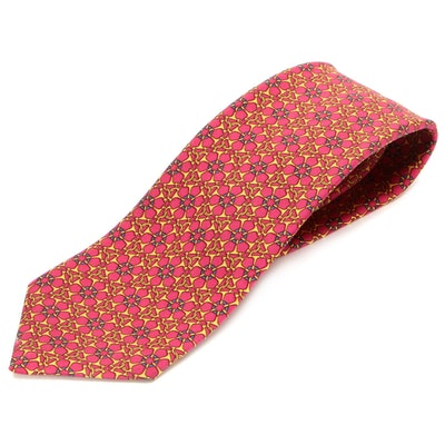 Hermès 7088 OA Hand-Stitched Floral Patterned Silk Twill Necktie