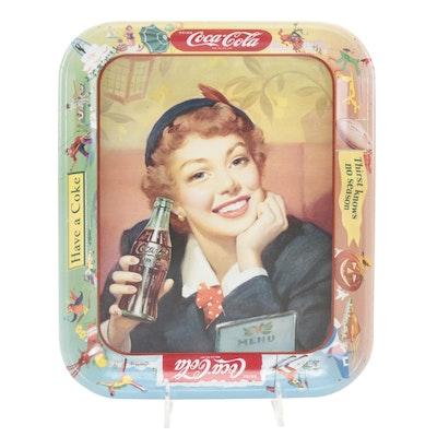 "Coca-Cola ""Thirst Knows No Season"" Tin Litho Tip Tray, Mid-20th Century"