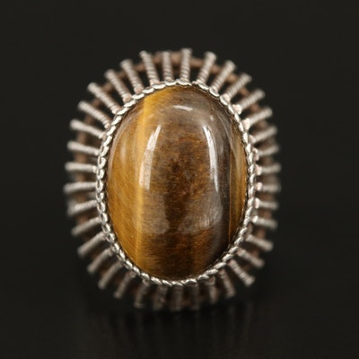 Sterling Tiger's Eye Quartz Ring with Braided Gallery