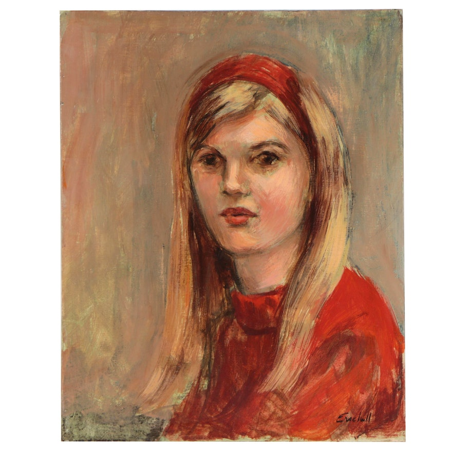 Beverly Erschell Portrait Oil Painting of Young Girl, Late 20th Century