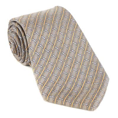 Hermès 803 MA Hand-Stitched Printed Silk Twill Necktie