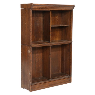 Two-Stack Quartersawn Oak Bookcase, Early 20th Century