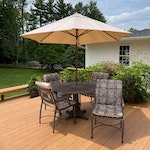 Metal Basket Weave Patio Table with Chairs, Cushions and Umbrella