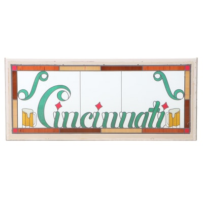 "Leaded Stained Glass ""Cincinnati"" Breweriana Window"