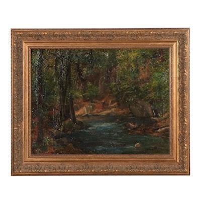 J.D. Schoen Landscape Oil Painting of Forest, Mid-20th Century