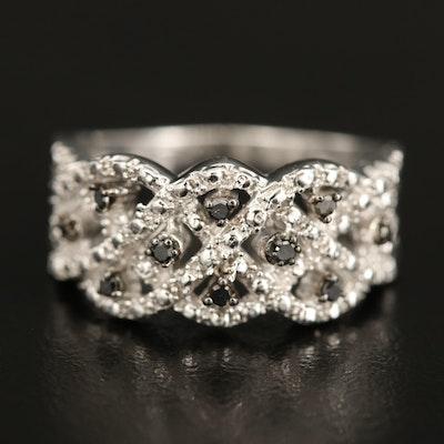 Sterling Silver Diamond Lattice Ring