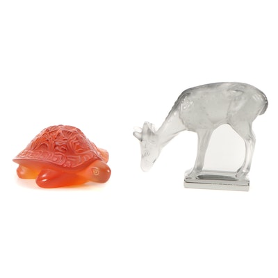 """Lalique """"Sidonie Turtle"""" Amber Glass and """"Fawn"""" Frosted Glass Figurines"""