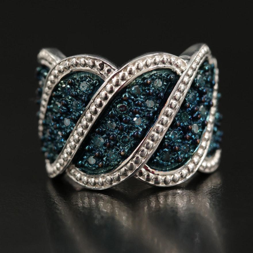 Sterling Fancy Blue Diamond Ring with Milgrain Detail