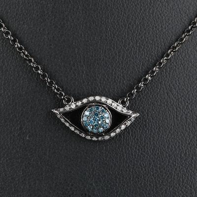 Sterling Diamond Evil Eye Necklace