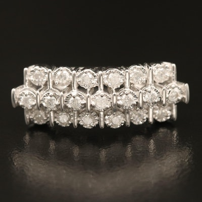 Sterling Diamond Illusion Set Three Row Ring