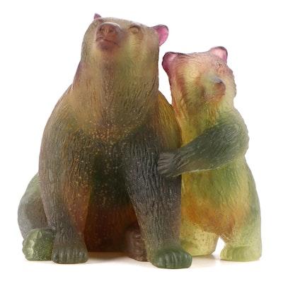 Daum Polychrome Pâte de Verre Glass Mother and Baby Bear Figurine