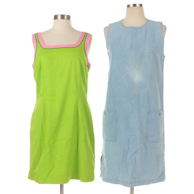Lily Pulitzer Sleeveless A-Line Dresses in Denim and Jacquard