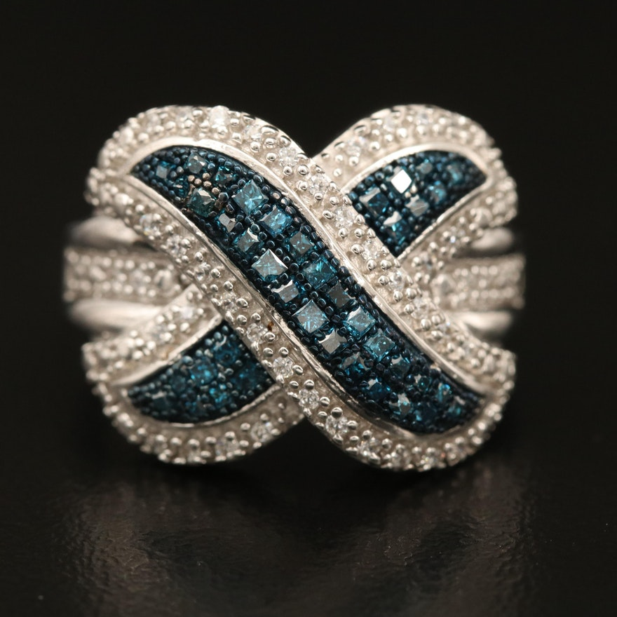 Sterling Diamond Crossover Ring with Cubic Zirconia