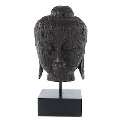 Carved Wood Buddha Head Sculpture