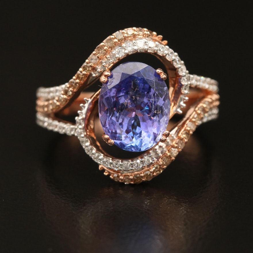 Sterling Tanzanite and Diamond Spiral Openwork Ring Including Cubic Zirconia