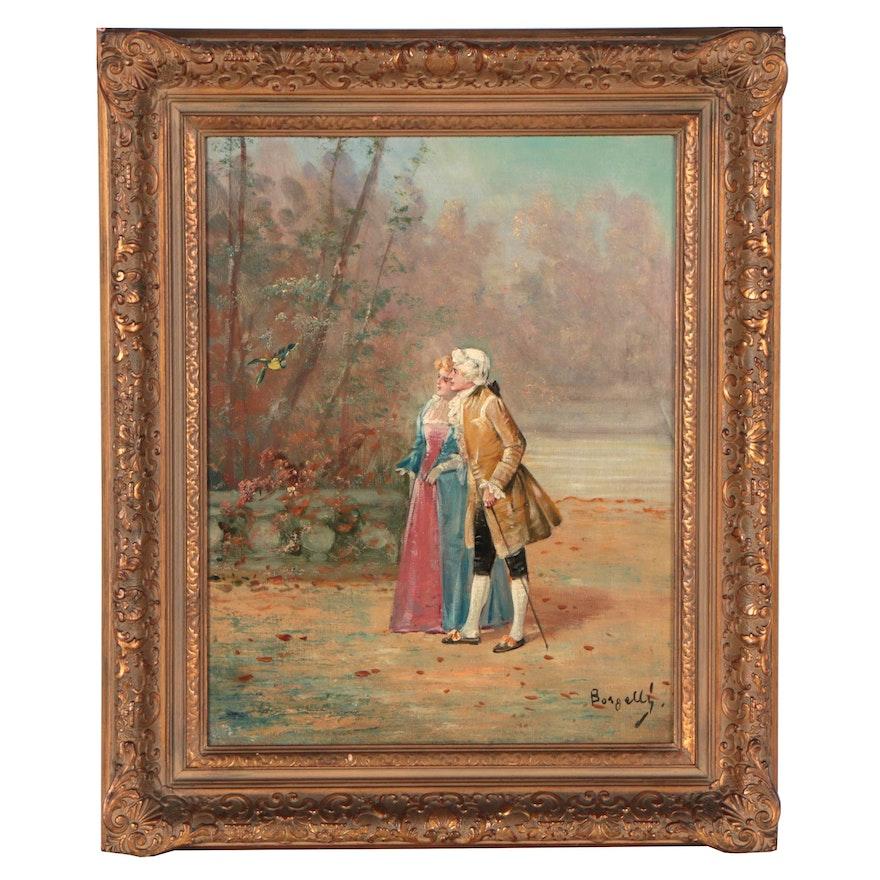 Borgelli Leisure Scene Oil Painting of Couple Bird Watching