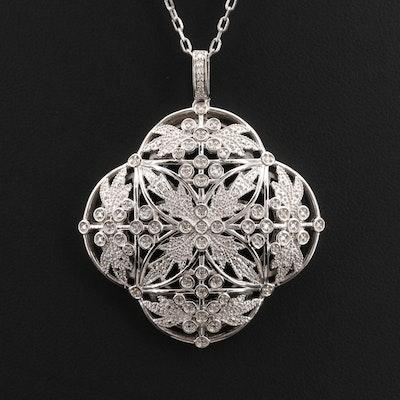 Sterling Diamond Quatrefoil Openwork Pendant Necklace