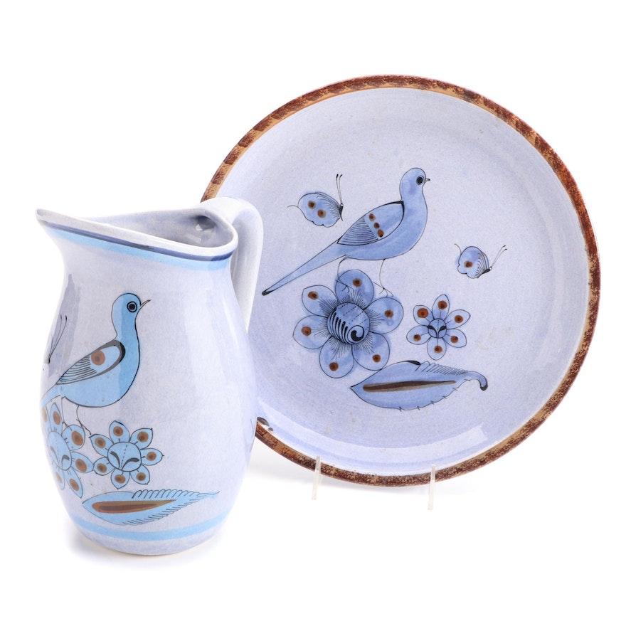 Mexican Tonala Pottery Bird Motif Round Platter and Pitcher