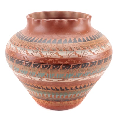 Artist Signed American Southwest Polychrome Sgraffito Pottery Vessel, 1998