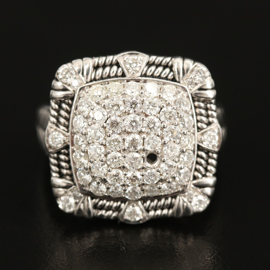 Sterling 1.45 CTW Diamond Ring with Braided Accent