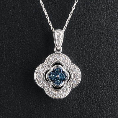 Sterling Quatrefoil Pendant Necklace with Diamond and Cubic Zirconia