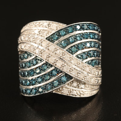 Sterling Diamond Tapered Crossover Band