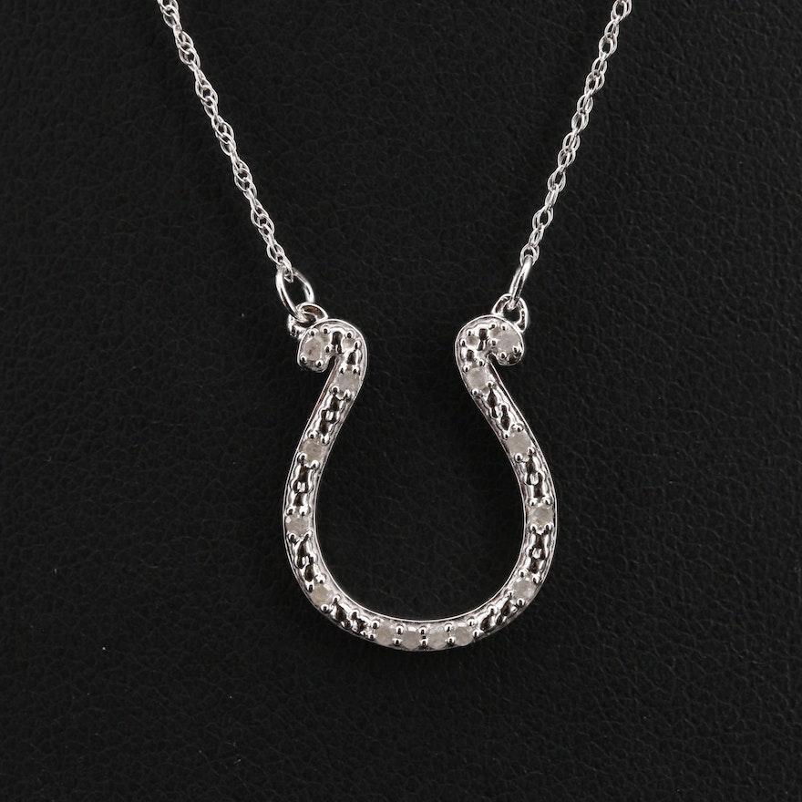 Sterling Diamond Horseshoe Necklace