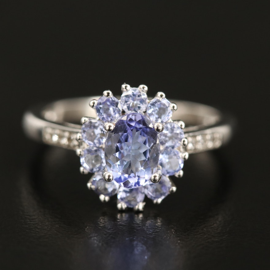 Sterling Tanzanite Ring with Topaz Shoulders