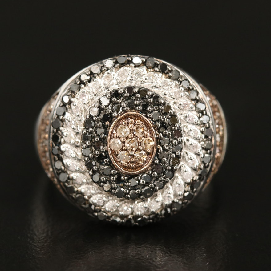 Sterling Multi-Halo 1.00 CTW Diamond Ring