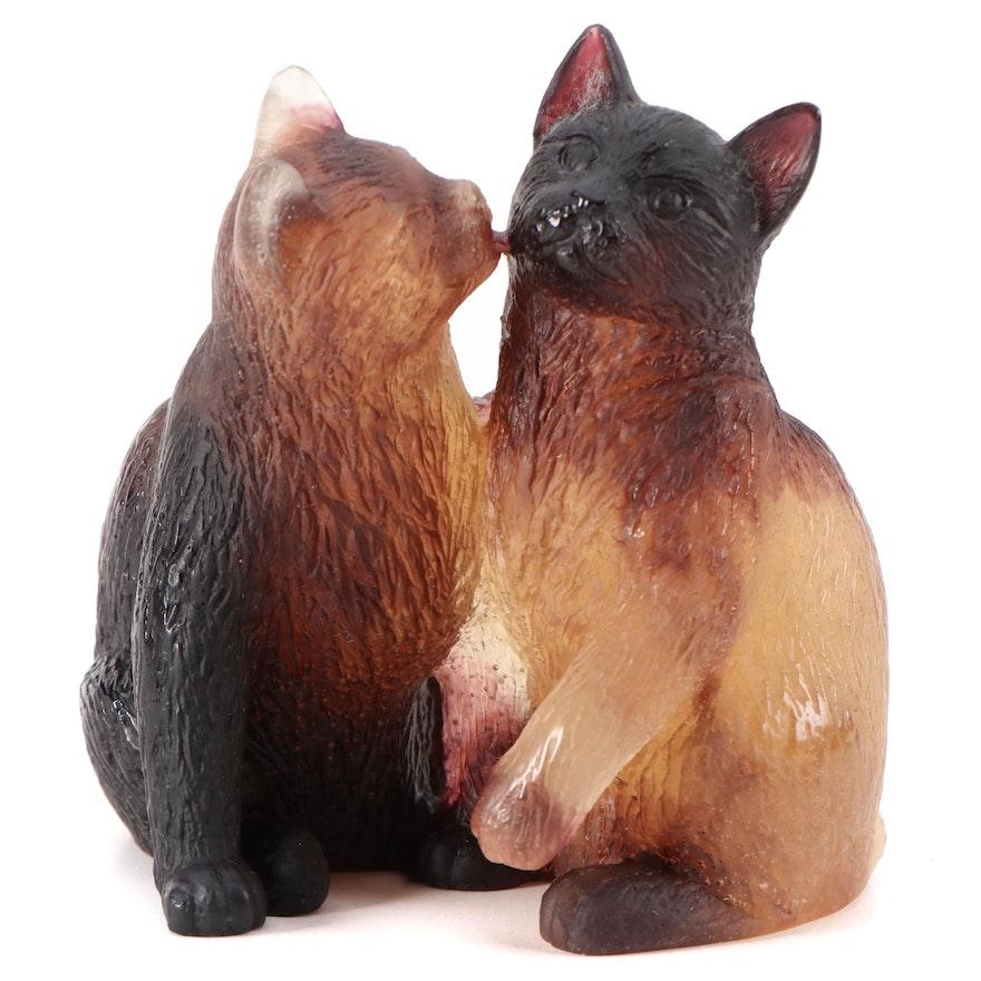 Daum Polychrome Pâte de Verre Glass Pair of Cats Figurine