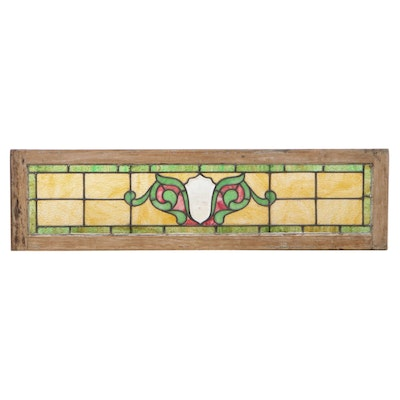 Victorian Stained and Slag Glass Transom Window, Late 19th to Early 20th C