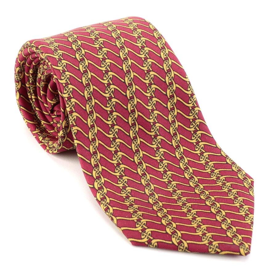 Hermès 7005 TA Hand-Stitched Patterned Silk Twill Necktie