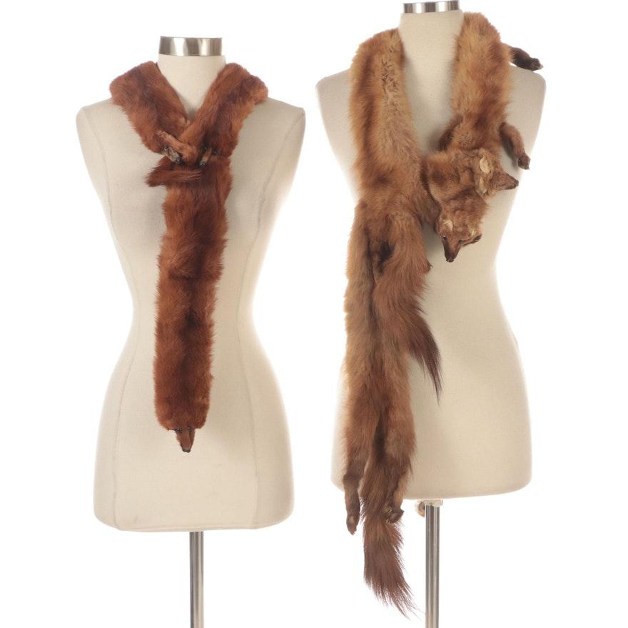 Pine Marten Fur and Mink Fur Stoles