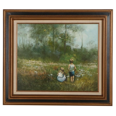 Juhl Evans Oil Painting of Children in the Forest, Late 20th Century