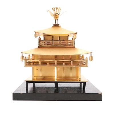 Kinkaku-ji Buddhist Temple Brass Model on Wood Stand