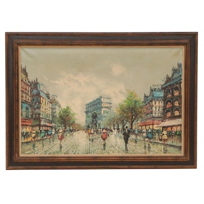 Impressionist Style Parisian Cityscape Oil Painting, Late 20th Century