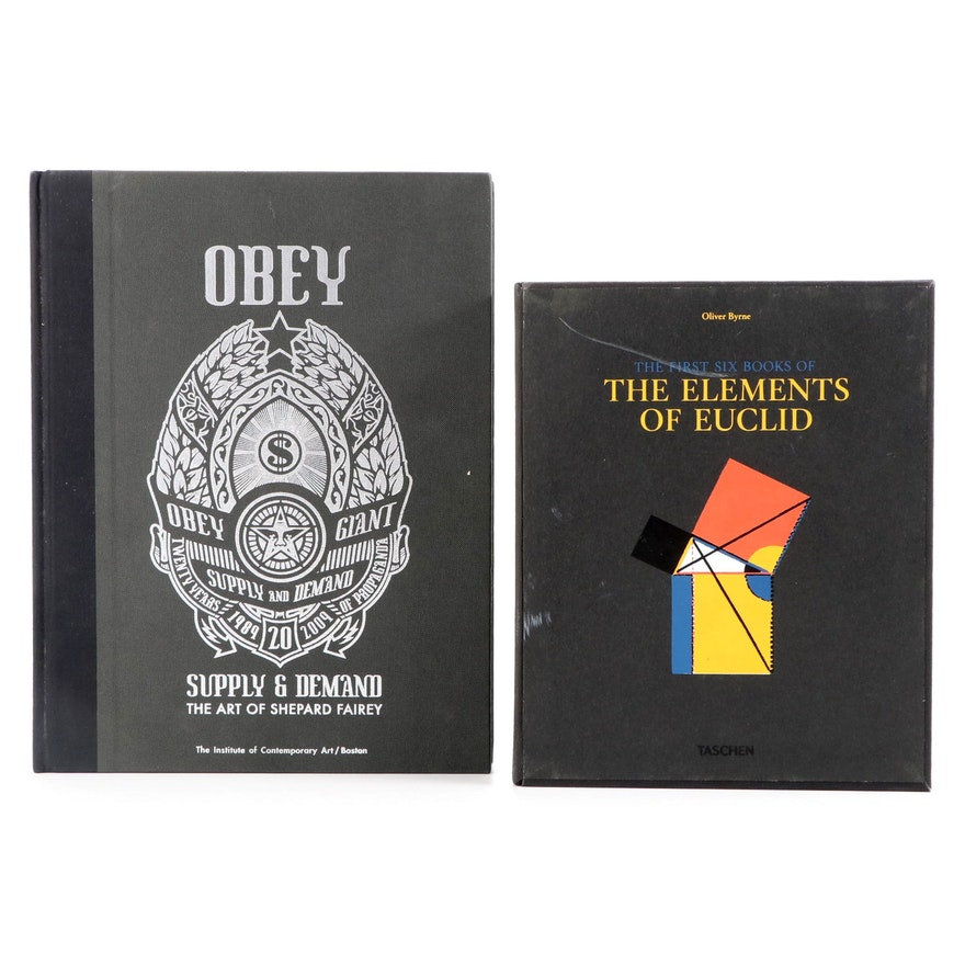 """""""Obey"""" by Shepard Fairey with Facsimile """"The Elements of Euclid"""" by Oliver Byrne"""