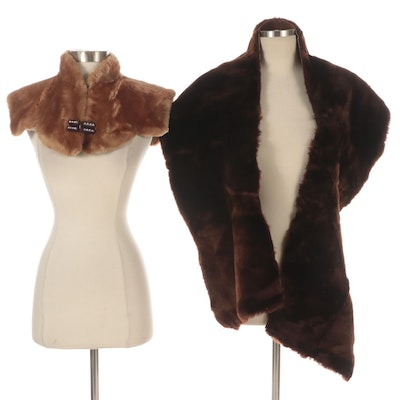 Shearling Shrug with Embellished Closure and Unlined Shearling Stole