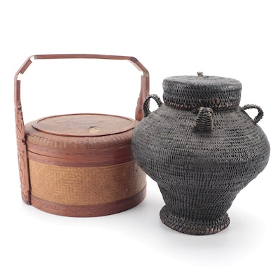 Chinese Bamboo and Rattan Food Basket with Other Urn Form Lidded Basket