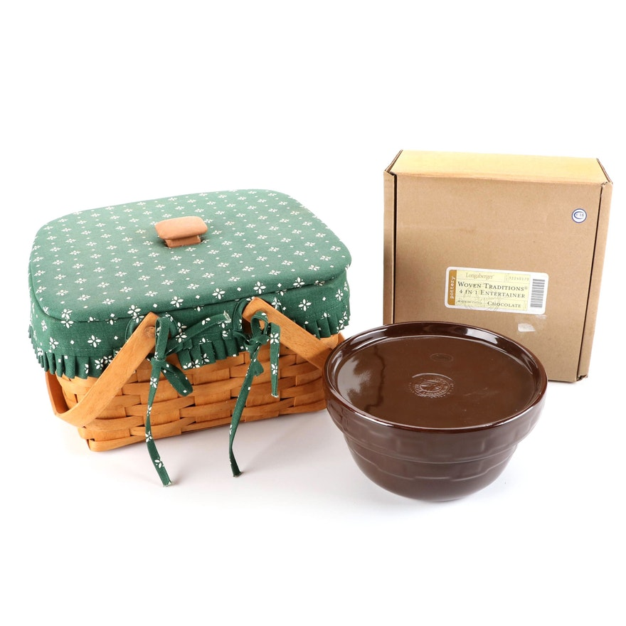 """Longaberger """"Woven Traditions"""" Ceramic Covered Dish with Maple Lidded Basket"""